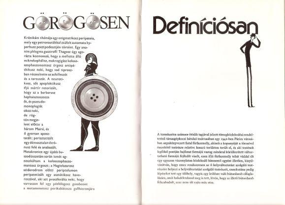 Exercices de style magyar nyelvű kiadása 1988-ból. A tipográfia a zseniális könyvművész, Szánthó Tibor munkája